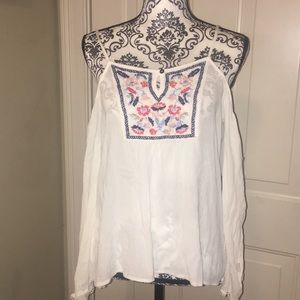 Girls M embroidered cold-shoulder peasant top.